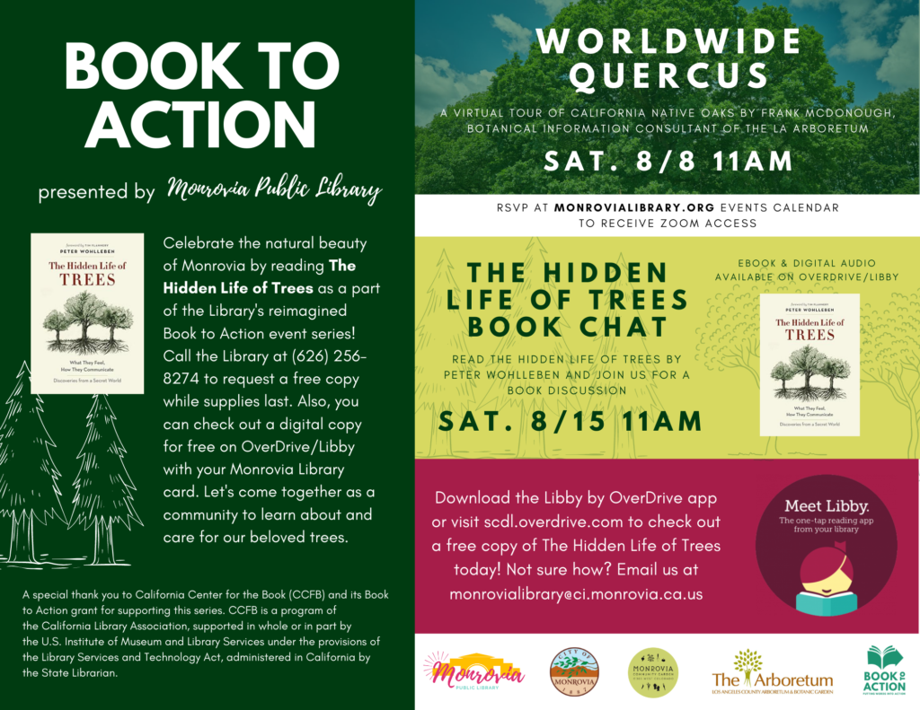 Book To Action flyer Monrovia Public Library