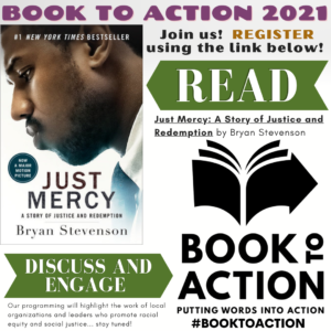 Hayward Library's Book to Action based on Just Mercy (book cover)